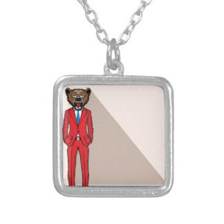 Bear head man vector illustration silver plated necklace