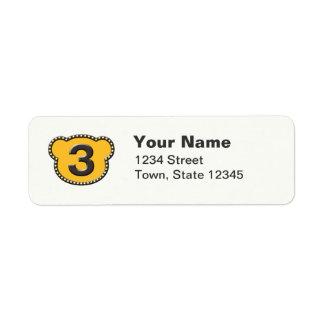 Bear Head Number 3 Label