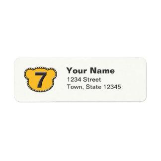 Bear Head Number 7 Label