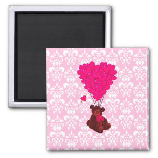 Bear & heart balloons on pink damask 2 inch square magnet
