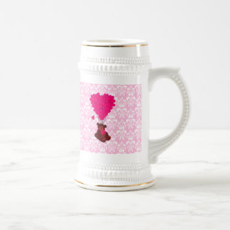 Bear & heart balloons on pink damask beer stein
