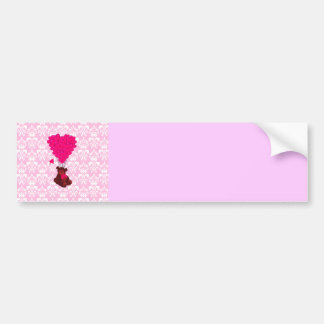 Bear & heart balloons on pink damask bumper sticker