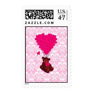 Bear & heart balloons on pink damask postage stamp