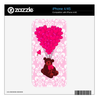 Bear & heart shaped balloons on pink damask skins for the iPhone 4S