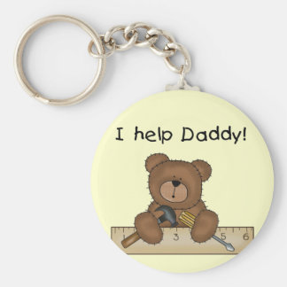 Bear Helps Daddy Tshirts and Gifts Keychain