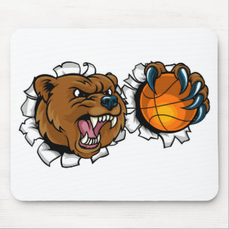 Bear Holding Basketball Ball Breaking Background Mouse Pad