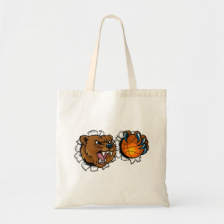 Bear Holding Basketball Ball Breaking Background Tote Bag