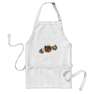 Bear Holding Golf Ball Breaking Background Adult Apron