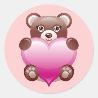 BEAR HOLDING PINK HEART STICKER
