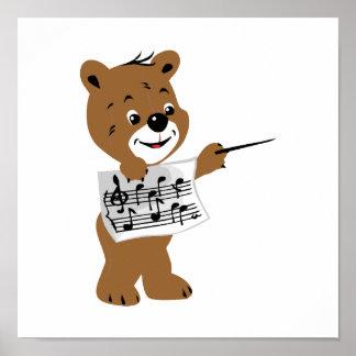 bear holding sheet music.png poster