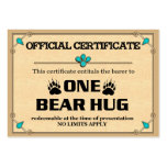 BEAR HUG Certificate Cards