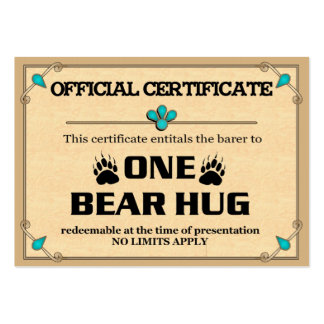 BEAR HUG Certificate Cards Large Business Cards (Pack Of 100)