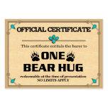 BEAR HUG Certificate Cards Business Card Templates