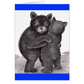 Bear Hug. Two bears hugging out in nature Card