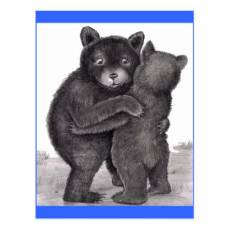 Bear Hug. Two bears hugging out in nature Postcards