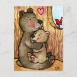 Bear Hugs - Cute Teddy Bear Art Postcard