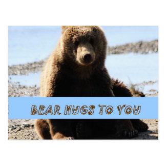 Bear Hugs to you Brown Bear cub Alaska Postcard