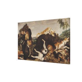 Bear Hunt or, Battle Between Dogs and Bears Canvas Print