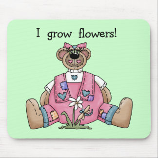 Bear I Grow Flowers T-shirts and Gifts Mouse Pad