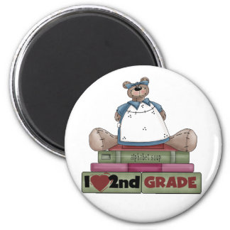 Bear I Love 2nd Grade 2 Inch Round Magnet
