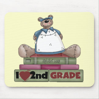 Bear I Love 2nd Grade Tshirts and Gifts Mouse Pad