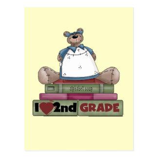 Bear I Love 2nd Grade Tshirts and Gifts Postcard