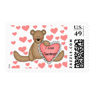 Bear I Love Teachers Tshirts and Gifts Postage Stamps
