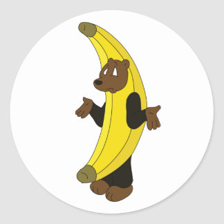 Bear in Banana Suit Classic Round Sticker