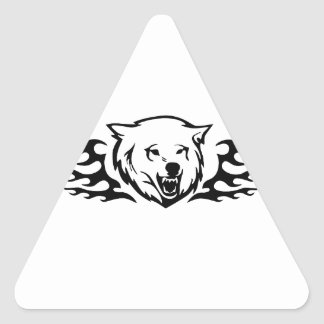 Bear in Flames Triangle Sticker