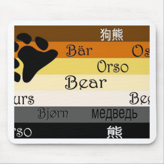 Bear in Many Languages Mouse Pad