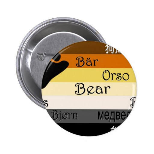 Bear in Many Languages Pinback Button