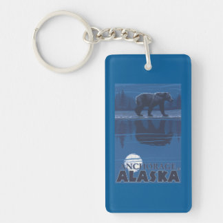 Bear in Moonlight - Anchorage, Alaska Double-Sided Rectangular Acrylic Keychain