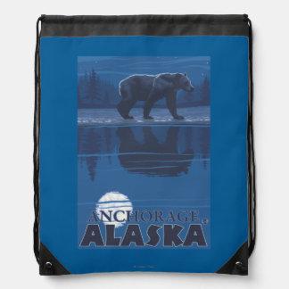 Bear in Moonlight - Anchorage, Alaska Cinch Bag