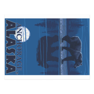 Bear in Moonlight - Anchorage, Alaska Postcard