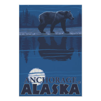 Bear in Moonlight - Anchorage, Alaska Print