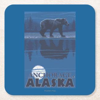 Bear in Moonlight - Anchorage, Alaska Square Paper Coaster