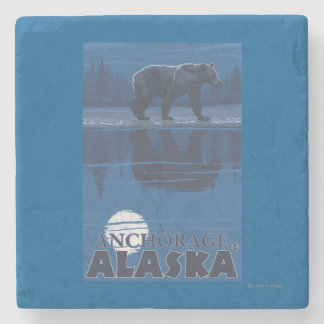Bear in Moonlight - Anchorage, Alaska Stone Coaster