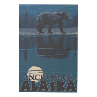 Bear in Moonlight - Anchorage, Alaska Wood Wall Art