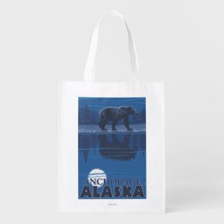 Bear in Moonlight - Anchorage, Alaska Grocery Bags