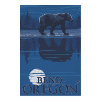 Bear in Moonlight - Bend, Oregon Poster