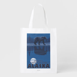 Bear in Moonlight - Denali National Park, Alaska Grocery Bag