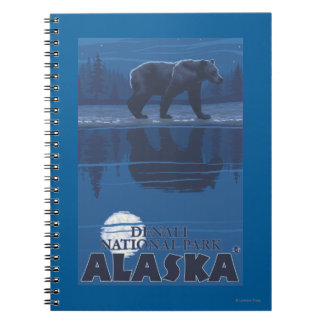 Bear in Moonlight - Denali National Park, Alaska Notebook