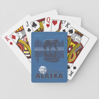 Bear in Moonlight - Denali National Park, Alaska Playing Cards