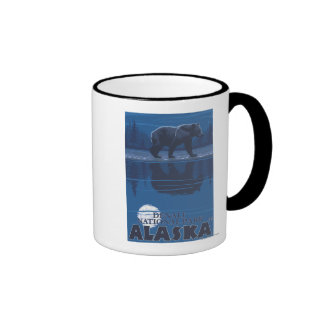 Bear in Moonlight - Denali National Park, Alaska Ringer Mug