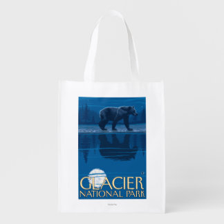 Bear in Moonlight - Glacier National Park, MT Grocery Bags