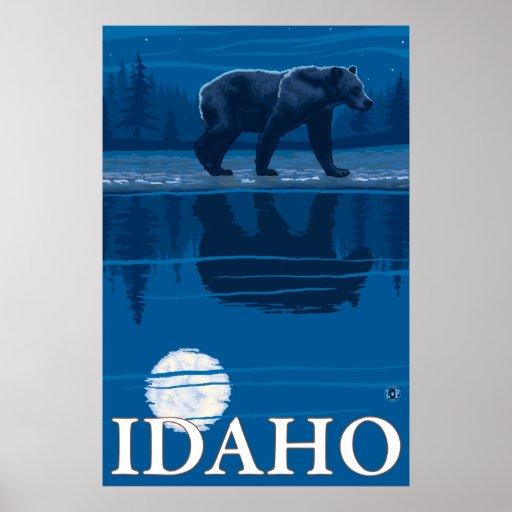 Bear in Moonlight - Idaho Poster