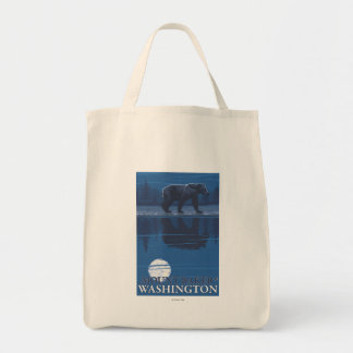 Bear in Moonlight - Mount Baker, Washington Tote Bag