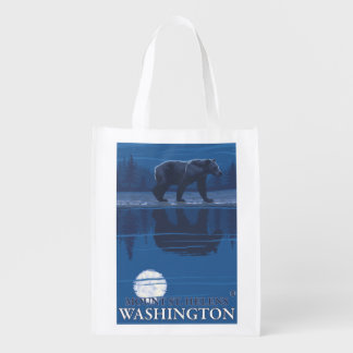 Bear in Moonlight - Mount St. Helens, Reusable Grocery Bags