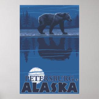 Bear in Moonlight - Petersburg, Alaska Poster