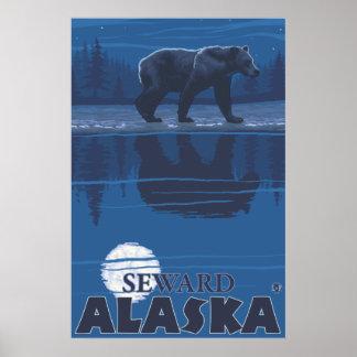 Bear in Moonlight - Seward, Alaska Poster